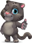 Baby Black Panther Cartoon Vector Character - Making Thumbs Up