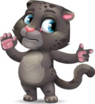 Baby Black Panther Cartoon Vector Character - Pointing with a fnger