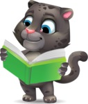 Baby Black Panther Cartoon Vector Character - Reading a book