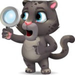 Baby Black Panther Cartoon Vector Character - Searching with magnifying glass