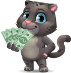 Baby Black Panther Cartoon Vector Character - Show me the Money