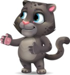 Baby Black Panther Cartoon Vector Character - Showing with right hand