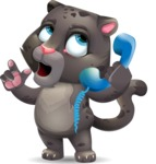 Baby Black Panther Cartoon Vector Character - Talking on phone