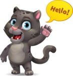 Baby Black Panther Cartoon Vector Character - Waving for Hello with a hand