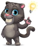 Baby Black Panther Cartoon Vector Character - with a Light bulb
