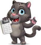 Baby Black Panther Cartoon Vector Character - with Calculator