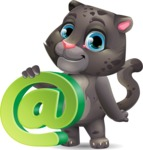 Baby Black Panther Cartoon Vector Character - with Email sign