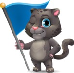 Baby Black Panther Cartoon Vector Character - with Flag