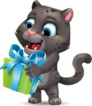 Baby Black Panther Cartoon Vector Character - with Gift box