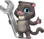 Baby Black Panther Cartoon Vector Character - with Repairing tool wrench