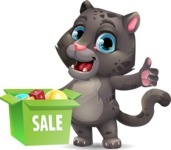 Baby Black Panther Cartoon Vector Character - with Sale boxes
