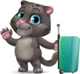 Baby Black Panther Cartoon Vector Character - with Suitcase