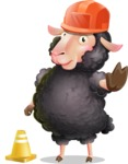 Black Sheep Cartoon Vector Character - as a Construction worker