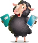 Black Sheep Cartoon Vector Character - Choosing between Book and Tablet