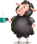 Black Sheep Cartoon Vector Character - Drinking Coffee
