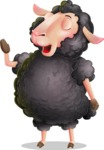 Black Sheep Cartoon Vector Character - Feeling Bored