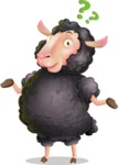 Black Sheep Cartoon Vector Character - Feeling Confused