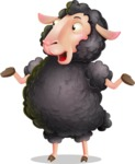 Black Sheep Cartoon Vector Character - Feeling Lost