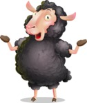 Black Sheep Cartoon Vector Character - Feeling Shocked
