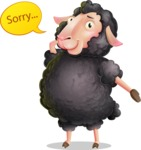 Black Sheep Cartoon Vector Character - Feeling sorry