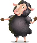 Black Sheep Cartoon Vector Character - Finger pointing with angry face
