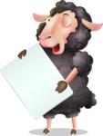 Black Sheep Cartoon Vector Character - Holding a Blank banner