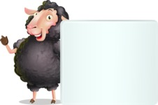 Black Sheep Cartoon Vector Character - Holding a Blank sign and Pointing