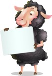 Black Sheep Cartoon Vector Character - Holding a Blank sign