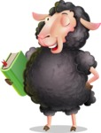 Black Sheep Cartoon Vector Character - Holding a book