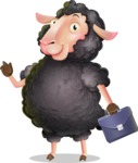Black Sheep Cartoon Vector Character - Holding a briefcase