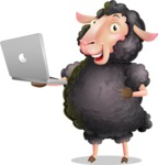 Black Sheep Cartoon Vector Character - Holding a laptop