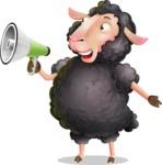 Black Sheep Cartoon Vector Character - Holding a Loudspeaker