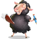 Black Sheep Cartoon Vector Character - Holding a notepad with pencil