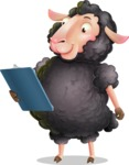 Black Sheep Cartoon Vector Character - Holding a notepad