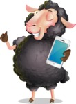 Black Sheep Cartoon Vector Character - Holding a smartphone