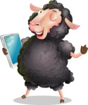 Black Sheep Cartoon Vector Character - Holding an iPad
