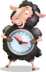 Black Sheep Cartoon Vector Character - Holding clock