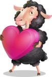 Black Sheep Cartoon Vector Character - Holding heart