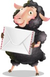 Black Sheep Cartoon Vector Character - Holding mail envelope