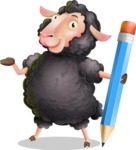 Black Sheep Cartoon Vector Character - Holding Pencil