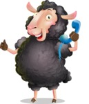 Black Sheep Cartoon Vector Character - Holding phone with thumbs up
