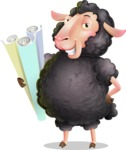 Black Sheep Cartoon Vector Character - Holding Plans