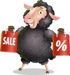Black Sheep Cartoon Vector Character - Holding shopping bags