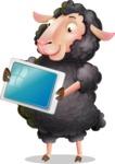 Black Sheep Cartoon Vector Character - Holding tablet