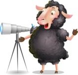 Black Sheep Cartoon Vector Character - Looking through telescope