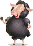 Black Sheep Cartoon Vector Character - Making a point