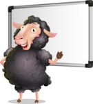 Black Sheep Cartoon Vector Character - Making a Presentation on a Blank white board