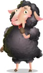 Black Sheep Cartoon Vector Character - Making Oops gesture