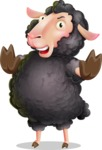 Black Sheep Cartoon Vector Character - Making stop gesture with both hands