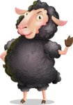 Black Sheep Cartoon Vector Character - Making stop with a hand